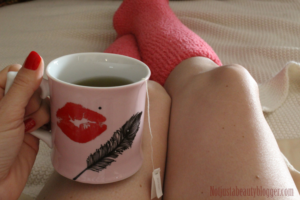 Morning decaf tea with my cozy pink socks.