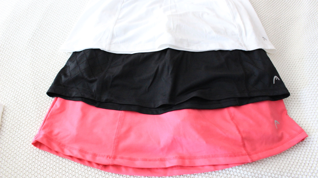 HEAD athletic skirts with built in shorts.
